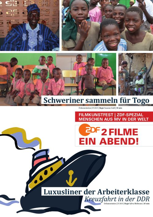 PLAKAT FILMKUNSTFEST<br><br>Schweriner sammeln für Togo<br><br>Luxusliner der Arbeiterklasse - Kreuzfahrt in der DDR